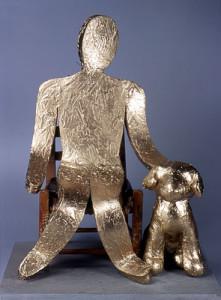 BOY WITH DOG fiberglass, resin, wood, and enamel, 25″ x 21″ x 27″