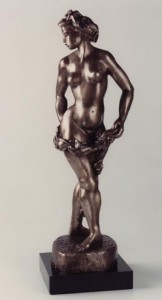 GIRL WITH GARLAND bronze, 30″ x 16″ x 20″