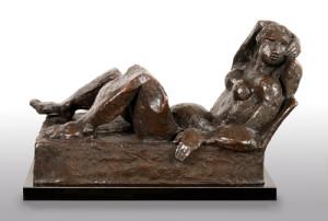 RECLINING WOMAN bronze, 11″ x 18″ x 10″