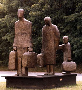 Holocaust memorial polystyrene, fiberglass, resin, steel, and bronze patina, 10′ x 11′ x 6'8″
