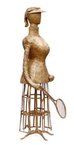 fiberglass, resin, imbedded bronze and found objects 62″ x 28″ x 15″